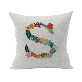 Flower Cotton Linen Cushion Pillow Case Cover Home Decor S Shape Pillowcase