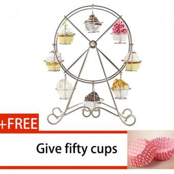 HL 8-Cup Metal Rotating Ferris Wheel Cake Stand Cupcake Anddessert Stand Holderuff08whiteuff09 + Free 50 Pcs Cake Cups - intl