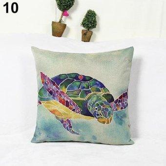 Sanwood Fashion Square Linen Throw Pillow Case Home Sofa Decoration 10 - intl