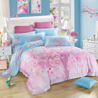 pink dream Jacquard Silk Bedding Set Luxury 4pcs Satin Bed Set Duvet Cover King Queen Size Bedclothes Bed Linen Sets - intl