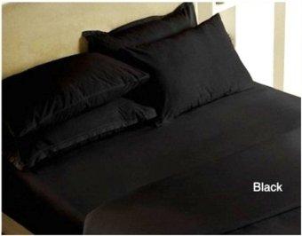 Jaxine Bed Cover Katun Prada Polos Hitam Polos