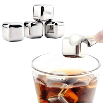 Larisa Store Reusable Stainless Steel Ice Cube 6pcs Es Batu Source · Harga 10 pcs lot Stainless Steel Whiskey Stones Ice Cubes Soapstone Glacier Cooler ...