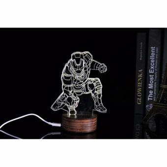 Lampu 3D LED Transparan Design Iron Man