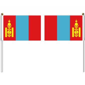 21x14cm Mongolia hand flag with pole national flag country flag banners indoor outdoor sports events show wedding staged flag pennants Multicolor