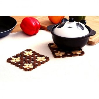 LZ Bamboo Hot Pad Cup Dish Plate Holder Squareheat Pad Kitchenaccessories - intl