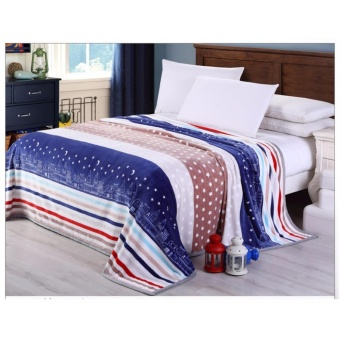 Soft Stripe Flannel Quilt Fashion Flannel Blanket Comforter Quilt (G) - intl