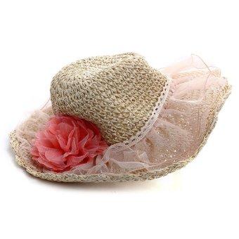 Flower Straw Summer Sun Beach Floppy Hat (Multicolor)