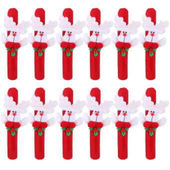 BolehDeals 12x Christmas Deer Reindeer Xmas Wrist Slap Band Wristband Kids Party Favors