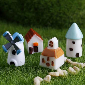 Set of 4pcs Miniature Bonsai Garden Ornament Landscape House Dollhouse Decor Multi