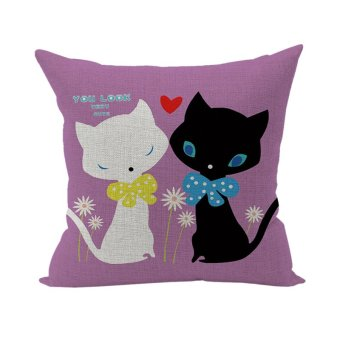 Home Room Decor Pillowcase Cushion Cover Cotton Linen Throw Pillow Case 2 Cats