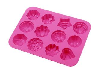 fehiba 12 Cavity Flowers Silicone Molds Non Stick Cake Bread Mold Chocolate Jelly Candy Baking Mould Cake Pans