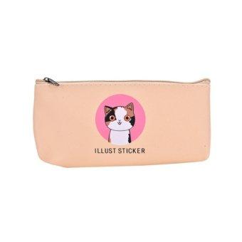 Cute Makeup Cartoon Storage Bag Pen Pencil Case Pouch Beige - intl