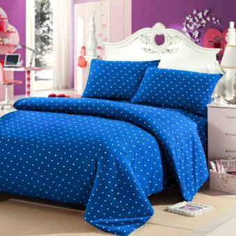jaxine bedcover set katun polkadot biru