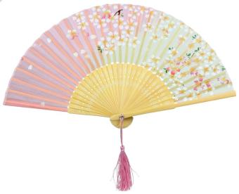 moob Pink and Green Cherry Blossom Pattern Lace Bamboo Handheld Folding Fans for Girls Women