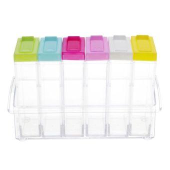 Whyus-New Kitchen Tool Premium Practical 6 Pcs/Set Durable Transparent Seasoning Box Condiment Storage Spice Jar - intl