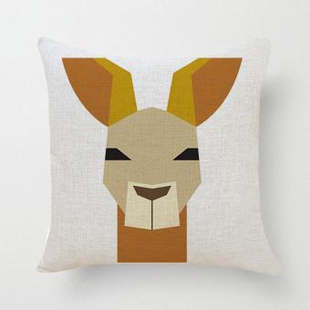 Cartoon Wolf Pillow Case (White)