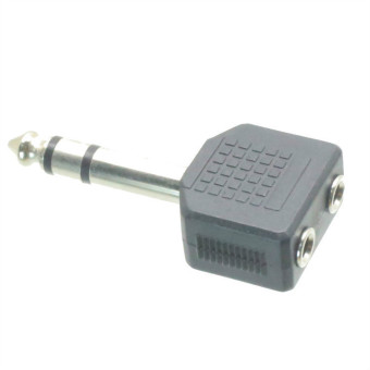 Fliegend 10pcs 6.35mm Male Plug to Dual 3.5mm Stereo Jack Female Socket Splitter TP