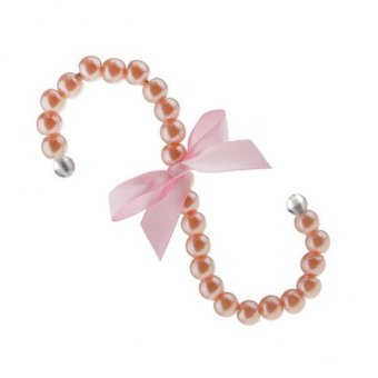 BolehDeals 16cm S-shape Pearl Beaded Hook Clothes Hanger Holder Bag Tote Hook Pink - intl