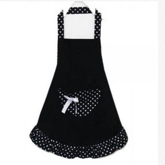 BolehDeals Fashion simpul dapur memasak celemek dengan saku untuk perempuan hadiah wanita hitam - Internasional