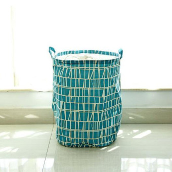 Creative Printing Large Capacity Dirty Clothes Laundry Basket Folding Hamper Bag Toy Storage Bucket Bags ( Blue ) 35 X45cm