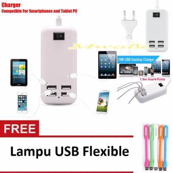 Harga USB Colokan Listrik Charger 4 Port Free Lampu USB Flexible