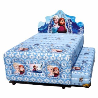 Bigland 2 in 1 Frozen Biru Set Spring Bed [120 x 200 cm]