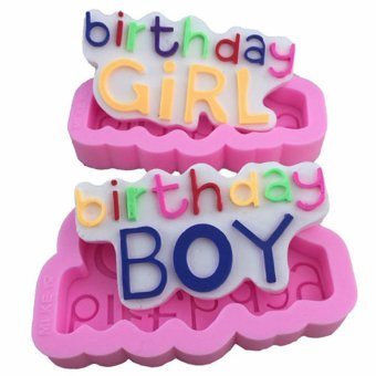 2 PCS Boy & Girl Birthday Cake Cookie Chocolate Silicone Lollipop Mold Mould Baking Tray Stick Party