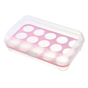 15-Hole Portable Plastic Shatter-proof Non-slip Eggs Fresh Storage Egg Container Holder Box Case Pink
