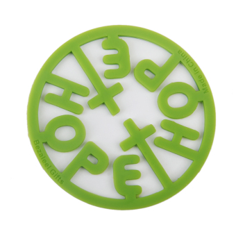 Silicone Hope Cross Pattern Coaster Cup Table Mat Christian Green