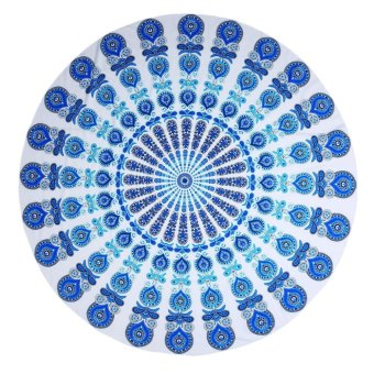 xfsmy Beach Blanket Mandala Round Roundie Beach Throw Tapestry Boho Gypsy Ombre Tablecloth Beach Towel Yoga Mat Wall Window Decor, Polyester Blue Peacock 1.4m - intl