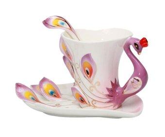 telimei Peacock Mugs Hand Crafted China Enamel Porcelain Tea Mug Coffee Cup Set with Spoon and Saucer,200ML (Purple) - intl