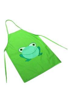 BODHI New Cute Kids Cartoon Frog Printed Waterproof Apron (Green)