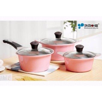 Kitchen Art Korean Best-Selling Juliet Ceramic Coating 3 Pots Set - Pink Edition. 16 cm + 18 cm + 20 cm - intl