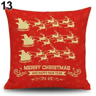 Sanwood Snowman Elk Tree Wreath Christmas Pillow Case Xmas Home Decor Linen Cushion Cover 13 - intl