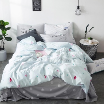 Home textiles love priting pink bedding sets 4/3pcs of duvet cover bed sheet pillowcase bedclothes size - intl