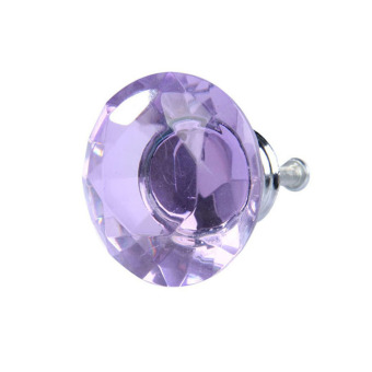 Diamond Shape Crystal Glass Drawer Cabinet Pull Handle Knob Light Purple - Intl