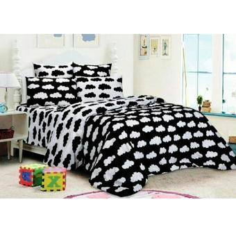 Alona Ellenov Awan Hitam Putih Bed Cover Set – Hitam