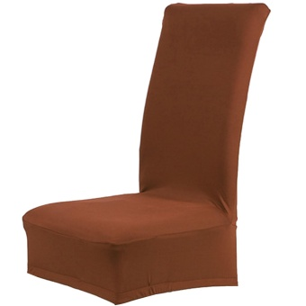 Great Stretch Solid Color Removable Chair Seat Cover Protector Slipcover for Wedding Banquet Meeting Celebration Dinning Room Spandex Coffee - intl