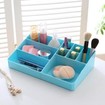 Plastic jewelry cosmetics box-blue - intl