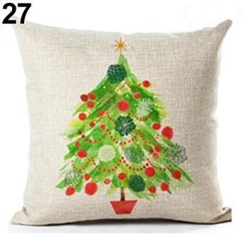 Sanwood Geometric Flower Xmas Linen Throw Pillow Case Home Decoration Sofa Cushion Cover 27 - intl