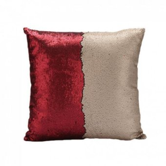 BolehDeals Reversible Suede Sequin Sofa Waist Cushion Cover Bed Pillow Case Slip Red - intl