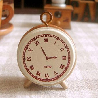 Wooden Rubber Stamp Seal Classic Alarm Clock For Diary Scrapbook Decor - intl