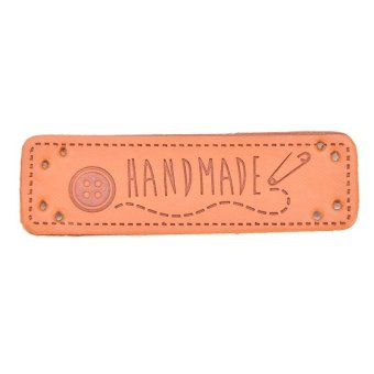 """2X Synthetic PU Leather Labels """"Hand Made"""" tag Sewing Craft DIY NK - intl"""