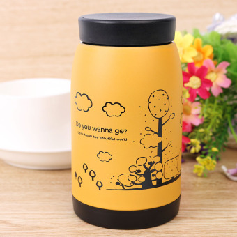 MC 250ml Stainless Steel Vacuum Cup Thermos Travel Insulated Mug Water Bottle (Yellow) - intl