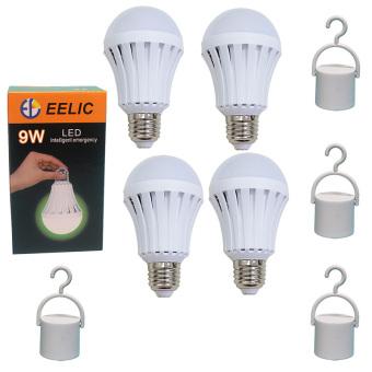 EELIC 4PCSE-9W LED 220V E27 Bohlam Intelligent Emergency Lampu Daruat - Lithium Baterai 1200