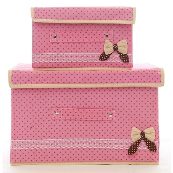 The butterfly knot non-woven storage box. With coverd large storage box. Clothing organizers box.Double box with different size.(Pink) - intl