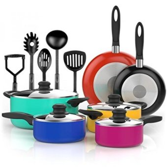 GPL/ Vremi 15 Piece Nonstick Cookware Set - Colored Kitchen Pots and Pans Set Nonstick with Cooking Utensils - Purple Teal Red Blue Pots and Non Stick Pans Set - PTFE and PFOA Free Cookware/ship from USA - intl
