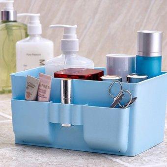Harga 360DSC kapasitas besar kotak penyimpanan kosmetik plastik meja kasus Oragnizer - Biru - Internasional
