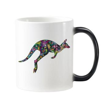 Australia Flavor Kangaroo Colored Drawing Illustration Morphing Heat Sensitive Changing Color Mug Cup Milk Coffee With Handles 350 ml - intl