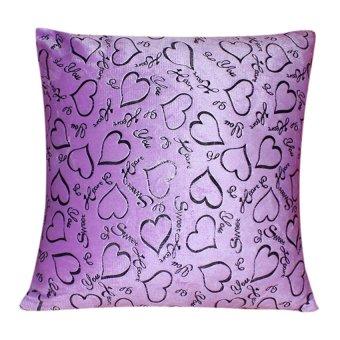Love Heart Throw Pillow Case (Purple)